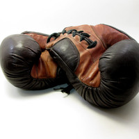 Vintage Boxing Gloves - Man Cave Decor - The Man Who Has Everything - Manly Christmas Gift for Him - Sporting Decor - Boys Room Athlete