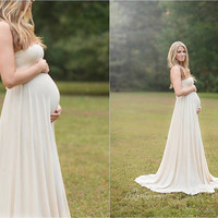 Plus Size Maternity Maxi Photography Dress in Luscious Natural Jersey -Optional Shrug- Custom Color/Made to Measure - XL/XXL 1X,2X,3X,4X,5X