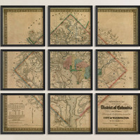 Antique Map of Washington, DC (1862) - Set of 6 or 9 Prints - Archival Reproduction