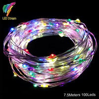 AA Battery Operated 25FT 7.5M 100leds Christmas Holiday Wedding Party Decoration LED Silver Wire String Fairy Lights Lamps