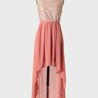 rose champagne high-low dress at ShopRuche.com