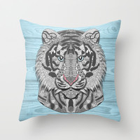 White Tiger Throw Pillow by ArtLovePassion