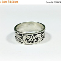 Sterling Silver Celtic Ring Irish Wedding Band Large Size 12.25 Dragons Celtic Knot Triquetra Signed Pepi Sterling