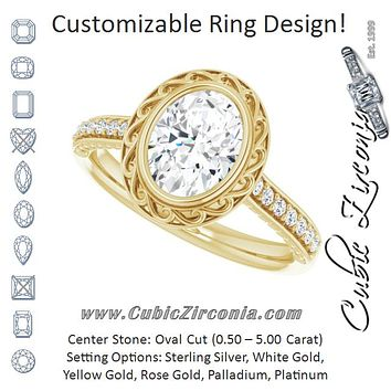 Cubic Zirconia Engagement Ring- The Itzayana (Customizable Cathedral-Bezel Oval Cut Design featuring Accented Band with Filigree Inlay)