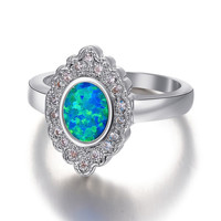 Antiqued Mirror Styled Natural Opal Stone Sterling Silver 925 Ring.