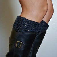 Crochet Boot Cuffs, Leg Warmers, Boot Toppers- Charcoal