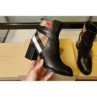 Burberry2021 Trending Women's men Leather Side Zip Lace-up Ankle Boots Shoes High Boots08260wk