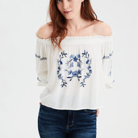 AE Embroidered Off-The-Shoulder Top, Cream