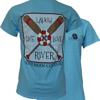 Southern Couture Live Laugh Love The River Tube Paddles Girlie Bright T Shirt