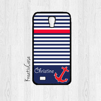 Monogrammed Galaxy S4 Case, Samsung S4 Case, Blue and Red Nautical Phone Case, Personalized Phone Cover - K175