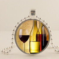 """Wine bottle and glasses,  1"""" glass and metal Pendant necklace Jewelry."""