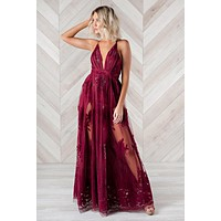 Top Of The Class Plunging Neckline Dress (Wine)