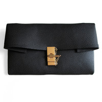 CHANCE Leather Fold-Over Pin & Clasp Clutch - Black