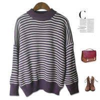 Winter Vintage Knit Tops Stripes Slim Batwing Sleeve Pullover Sweater [4918278020]
