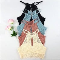 Summer Fashion Women Casual Halter Tank Tops Vest Blouse Sleeveless Crop Tops