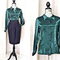 Emerald green satin blouse / vintage 80s dark green iridescent shirt / size M / elegant / classy / formal / business / party