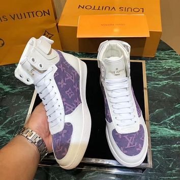 LV Louis Vuitton Newest Trending Women Casual Stylish High Top Sport Shoes Sneakers White/Purple
