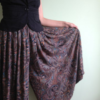 Yves Saint Laurent Wide Leg Pants in Brown and Teal, Paisley Print Pleated Maxi Skirt, High Waister Trousers, Long Skort, Midi Skirt, Size S