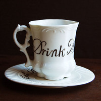 Drink Me Teacup and Saucer by TheVintageParlor on Etsy