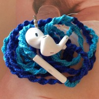 MyBudsBuzz Handmade Wrapped Tangle Free & Tangle Resistant Earbuds   Blue Belle   Genuine EarPods for iPhone iPod iPad
