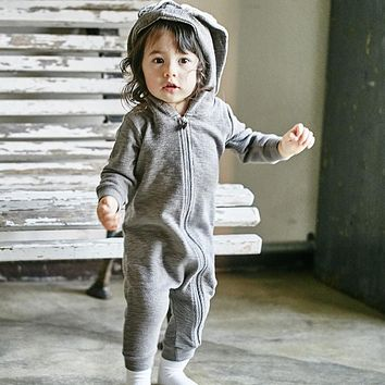 2017 Spring Winter Baby Children Rompers Cute Rabbit Design Baby Bunny Romper Hooded Baby Boys and Girls One-piece Suits