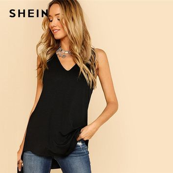 SHEIN V Neck Dolphin Hem Tank Top Black Asymmetrical V Neck Women Plain Vest  Summer  Clothes Casual Long Top Vest