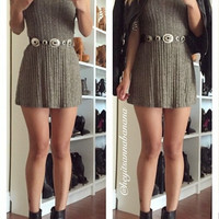 Solid Knit Flare Dress - Taupe
