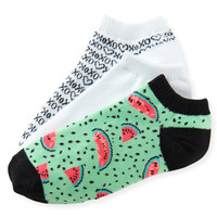 3-Pack XOXO, Solid & Watermelon Ped Socks