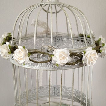 Whimsical White Floral Crown Halo Handmade Woodland Wedding, Vintage Womens Accessories Love Lace