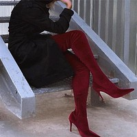 New Slim Boots Sexy Over The Knee High Women Fashion Thigh High Boots Shoes Woman Fashion