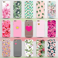 New Arrival Ultrathin Soft TPU Case for iphone 5 5s SE 6 6s 6plus 7 Flowers Daisy Plants Fruit Cactus Leaves pattern Phone Case