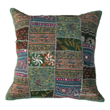 Indian Multi Patchwork Cotton Throw Cushion Cover