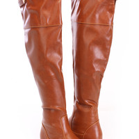 Cognac Thigh High Riding Boots Faux Leather