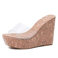 Sexy Women Transparent Wooded Mule Silde Shoes