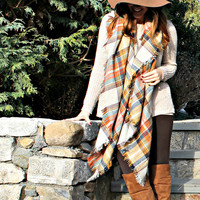 Yellow Plaid Blanket Scarf by KnitPopShop
