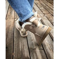 Ugg Fashion Winter Women Cute Bowknot Flat Warm Snow Ankle Boots-13