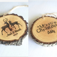 One Custom Wood Christmas Ornament, Engraved Ornament, Personalized Ornament, Christmas Ornament, Wood Slice Ornament, Rustic Ornament