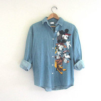 80s denim Disney Mickey Mouse shirt. blue jean button down shirt. size S