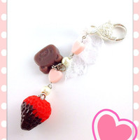Sweet Lolita Chocolate Dipped Strawberry Dangle Accessory with Chocolate Bear Hearts & Pearls