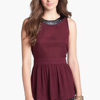 Chloe K Faux Leather Trim Cutout Detail Peplum Top (Juniors) | Nordstrom