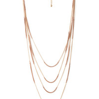 FOREVER 21 Layered Chain Necklace Light Rose/Gold One