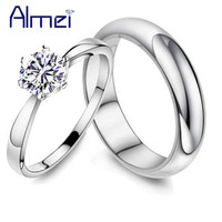 49% off Silver Pair Rings for Men and Women Wedding Band Lovers Fashion Crystal Couple Ring Anel de Prata Zircon Jewelry J063