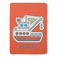 Cute Personalized Blue Red Gray Tugboat Baby Stroller Blanket