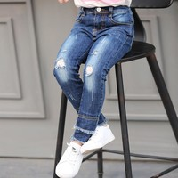 2017 Fashion Girls Children Pants Baby Girl Jeans Kids Lovely Pants Casual Trousers Denim Pants For 5 8 10 12 14 16 Years Teens