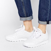 Reebok Classic Leather Sneakers In White at asos.com