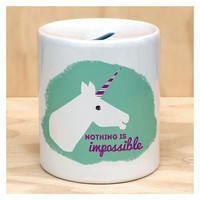 Unicorn Nothing is Impossible Coin Bank