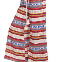 Palazzo Pants with Drawstring Waist in Red Aztec Print