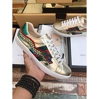 Gucci:Trending Fashion Casual Sports Shoes men and women silver color