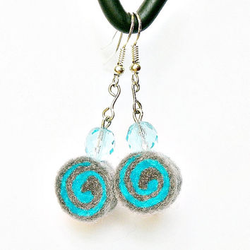 Earrings - unique felted rolls no 100 felt merino wool earrings very light colorful earrings unique pattern turquoise happiness joy unusual