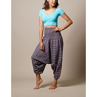 Amethyst Indian Striped Harem Yoga Pants